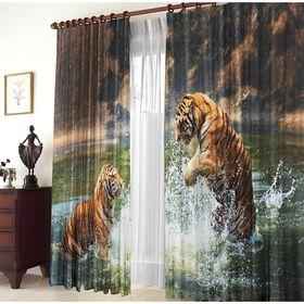 Set of curtains Two tigers 150x270 +/- 3cm 2pcs, gabardine, plastic