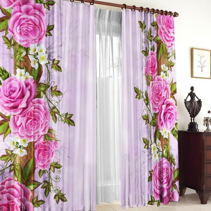 Комплект штор Китайские розы 150х270 +/- 3см 2шт, габардин, п/э