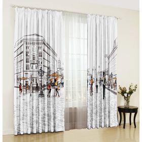 A set of curtains Favorite city 150x270 +/- 3cm 2pcs, gabardine, plastic