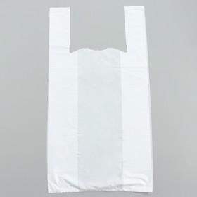 """Пакет """"Белый"""", полиэтиленовый, майка, 30 х 60 см, 15 мкм"""