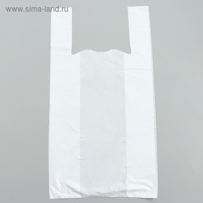 """Пакет """"Белый"""", полиэтиленовый, майка, 60х30 см, 15 мкм"""