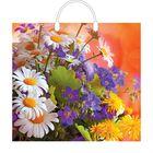 """Пакет """"Полевые цветы"""", полиэтиленовый с пластиковой ручкой, 38х35 см, 110 мкм"""
