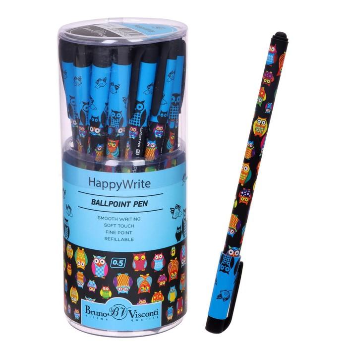"""Ручка шариковая HappyWrite """"Сказочные совы"""", узел 0.5 мм, чернила синие"""