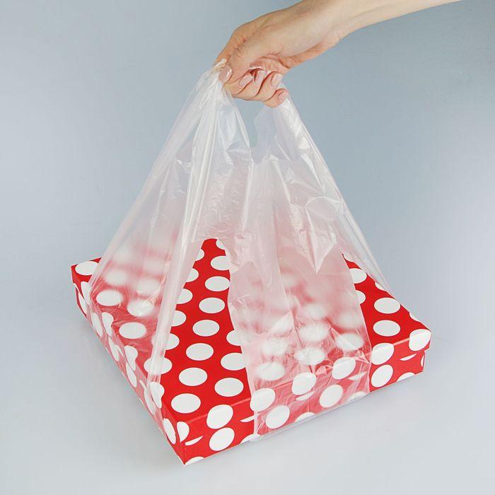 Пакет полиэтиленовый майка для коробок, 60 х 32 см, 14 мкм