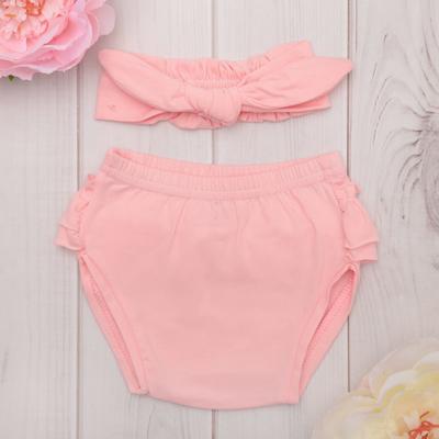 Набор для девочки: трусы и повязка на голову Крошка Я, цвет розовый, рост 62-68 (22-24), 3-6 мес.