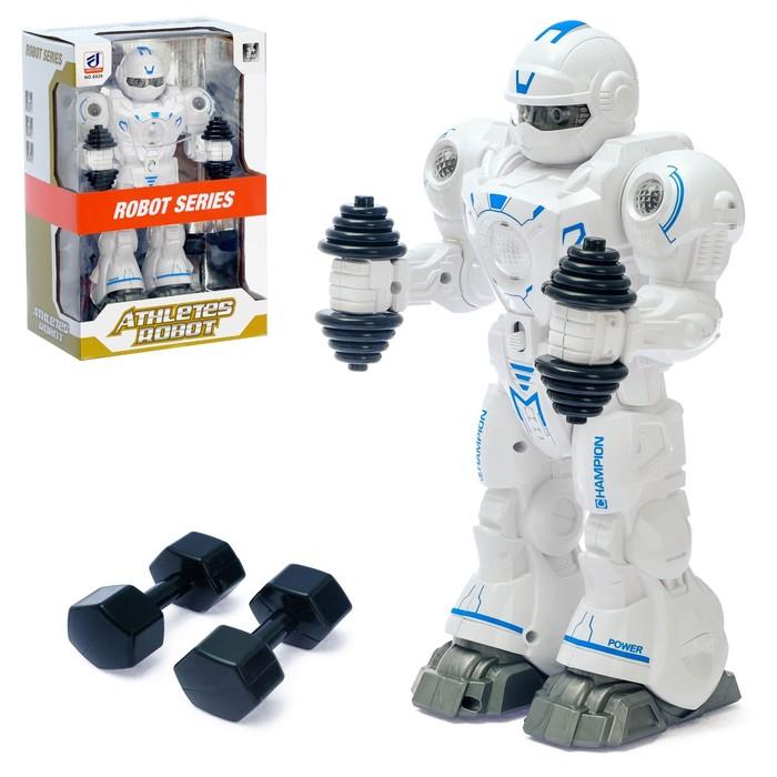 Робот «Атлет», световые и звуковые эффекты, работает от батареек, цвета МИКС - фото 105508204
