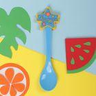 Ложка детская пластиковая «Сыночек» с резиновым элементом, от 5 мес.