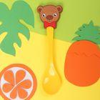 Ложка детская пластиковая «Мишутка» с резиновым элементом, от 5 мес.