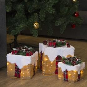 """Фигура текстиль """"Подарки""""Кубы заснеженные15х20х25 см,60 LED, 220V,8 режимов,Т/БЕЛЫЙ"""