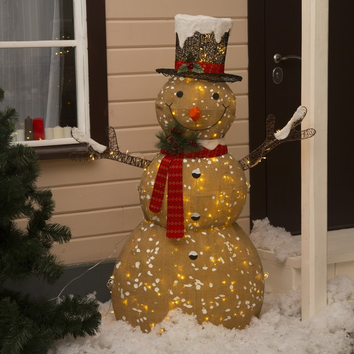 "Фигура текстиль ""Снеговик малый"" 80x33x110 см, 100 LED, 220V, Т/БЕЛЫЙ - фото 1729539"