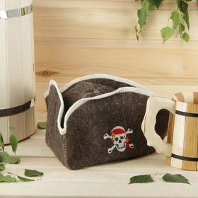 """Шапка для бани и сауны """"Пират"""" с вышивкой - фото 1396527"""