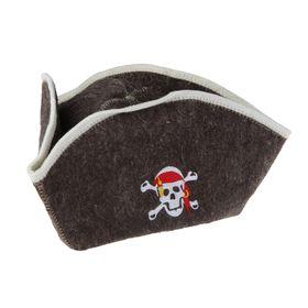 """Шапка для бани и сауны """"Пират"""" с вышивкой - фото 1396528"""