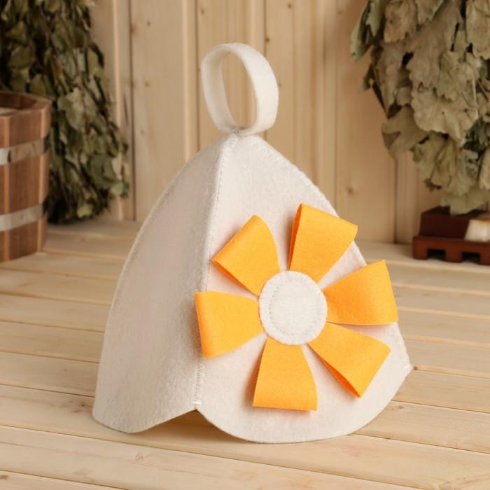 """Шапка для бани и сауны """"Цветок"""" оранжевый"""
