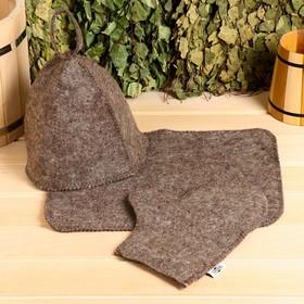 Набор для сауны (колпак, рукавица, коврик), темный, эконом Ош