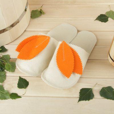 Тапочки для бани и сауны «КОЛОКОЛЬЧИК», женские, белые, мягкий войлок, 95% шерсть