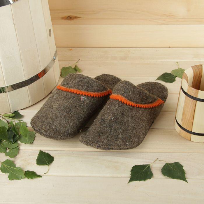 Тапочки для бани и сауны «КОМБИНИРОВАННЫЕ», мужские, серые, мягкий войлок, 95% шерсть