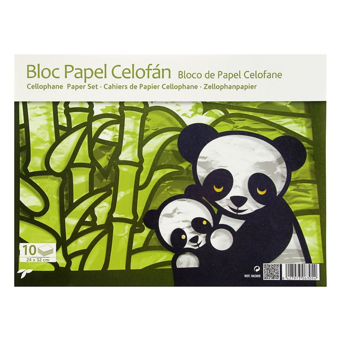 Бумага цветная Целлофан набор B4 240*320 мм Sadipal 10 цветов, склейка 06305