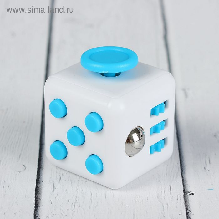 Кубик-антистресс, голубые кнопки, цвет белый