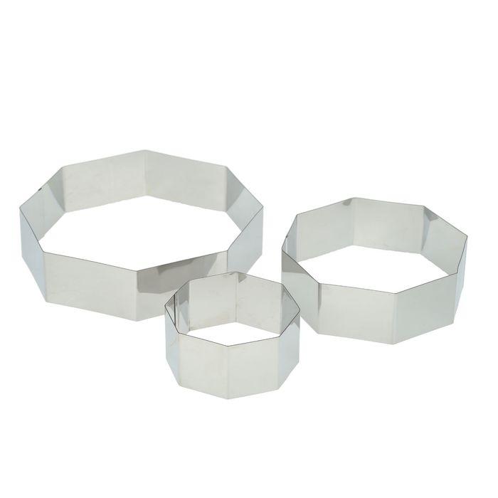 """Набор форм для выпечки 20х4,5 см """"Восьмиугольник"""", 3 шт - фото 145126898"""