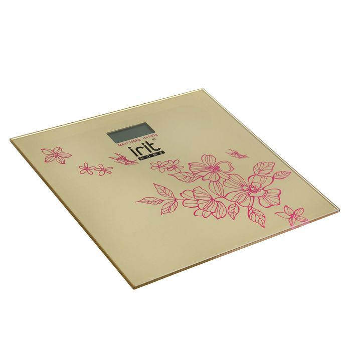 """Весы напольные Irit IR-7258, электронные, до 180 кг, рисунок """"цветы"""""""