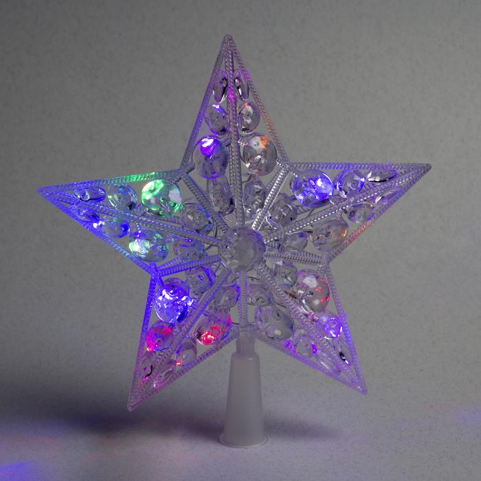 """Фигура """"Звезда белая ёлочная"""" 22Х22 см, пластик, 15 LED,2 метра провод,240V МУЛЬТИ"""