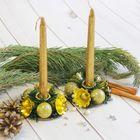 """Набор свечей с подсвечником """"Золотые колокольчики"""" (набор 4 шт) 4*17*13,5 см"""