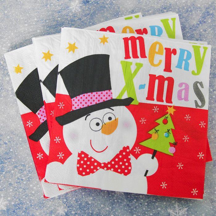 """Салфетки бумажные """"Снеговик"""" в шляпе, (набор 20 шт), 33*33 см"""