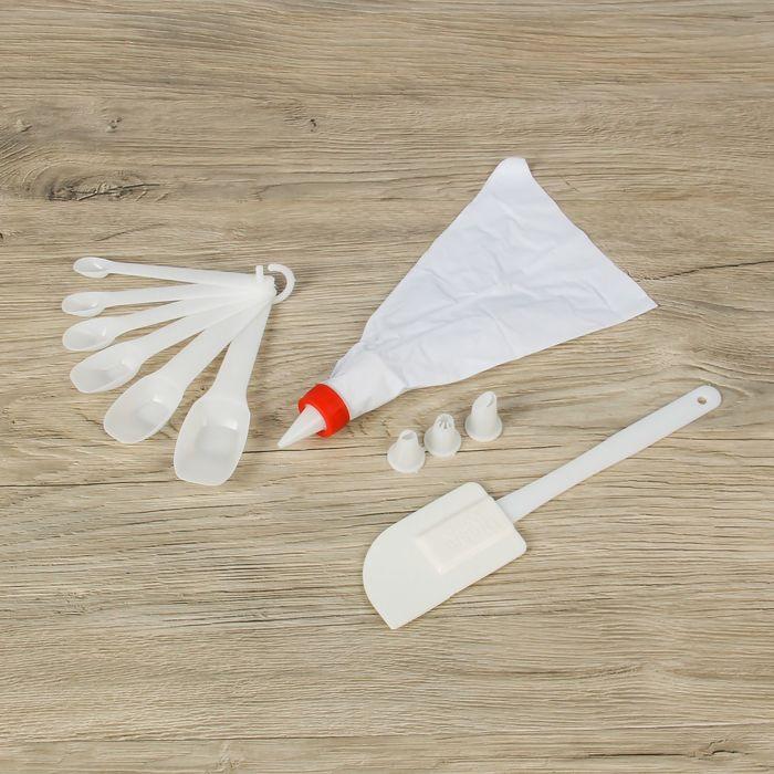 Набор кондитерский 12 предметов: лопатка, мешок, 4 насадки d=2см, 6 мерных ложек