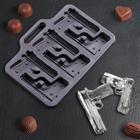 """Форма для льда и шоколада """"Пистолет"""", 6 ячеек, цвета МИКС"""