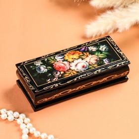 Шкатулка «Жостово», 14×6 см, лаковая миниатюра