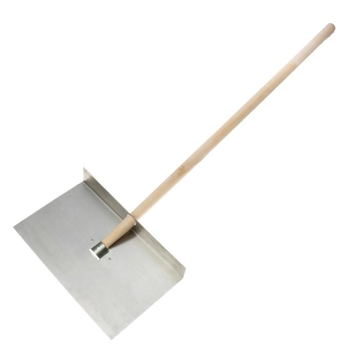 Лопата алюминиевая, однобортная, ковш 295 × 500 мм, толщина 1,5 мм, деревянный черенок