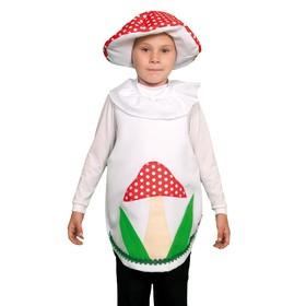 """Карнавальный костюм """"Гриб мухомор"""", текстиль, накидка и маска-шапочка, рост 98-128 см"""