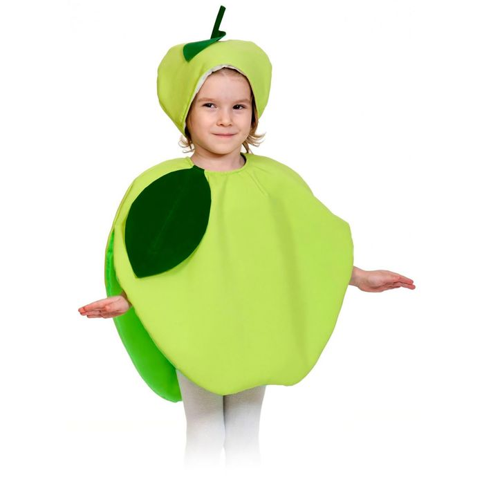"""Карнавальный костюм """"Яблоко"""", текстиль, накидка и маска-шапочка, рост 98-128 см - фото 105522501"""