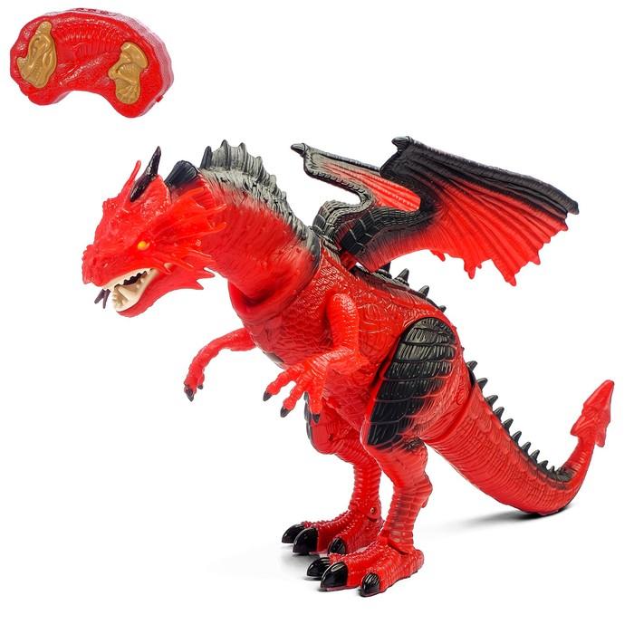 """Динозавр радиоуправляемый """"Дракон"""", работает от батареек, свет и звук"""