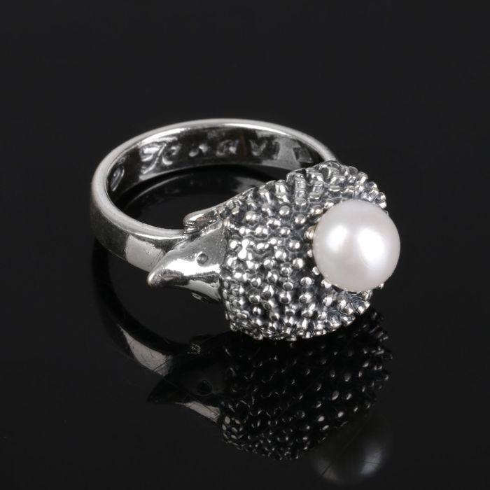 """Кольцо """"Ёж"""", размер 17, цвет белый в чернёном серебре"""