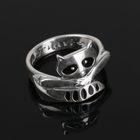 """Кольцо """"Енот"""", размер 17, цвет чёрный в чернёном серебре"""