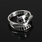 """Кольцо """"Енот"""", размер 18, цвет чёрный в чернёном серебре"""