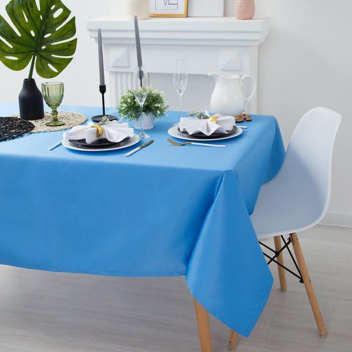 """Скатерть """"Этель"""" однотонная 150*300, цв.голубой, пл. 192 г/м2, хл с ГМО"""