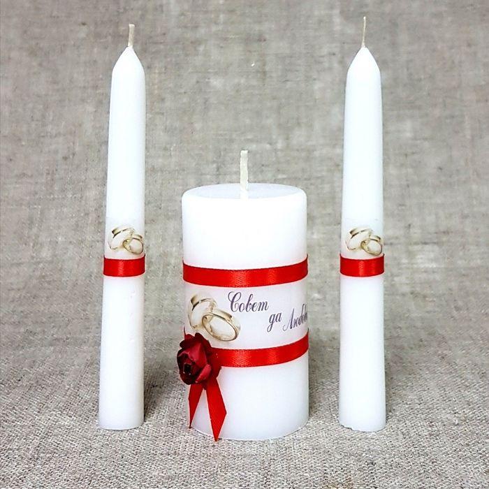 """Набор свечей """"Совет да любовь с розой"""" красный: Родительские свечи 1,8х15;Домашний очаг 5,2х"""