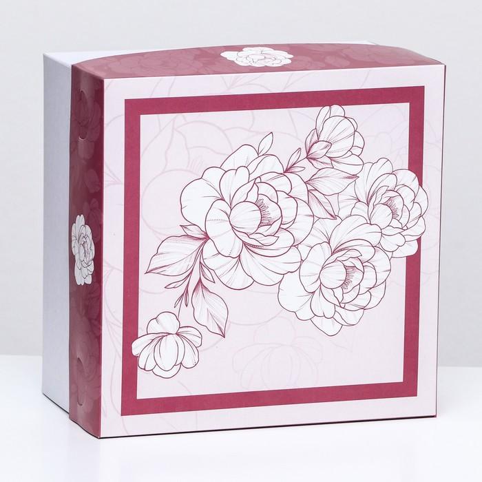 Кондитерская упаковка, бежевая, 1 кг, 21 х 21 х 12 см - фото 308035268