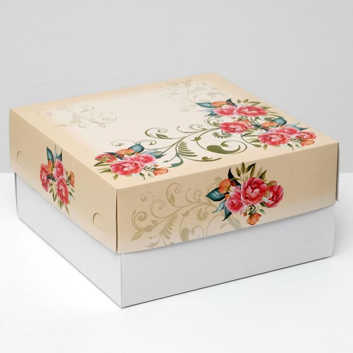 """Кондитерская упаковка для торта, """"Красные розы"""", 29,5 х 29,5 х 15 см - фото 308035273"""