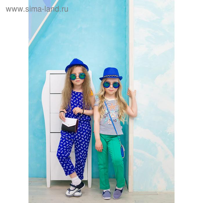 Комбинезон для девочки, рост 98-104 см, цвет синий, принт велосипед