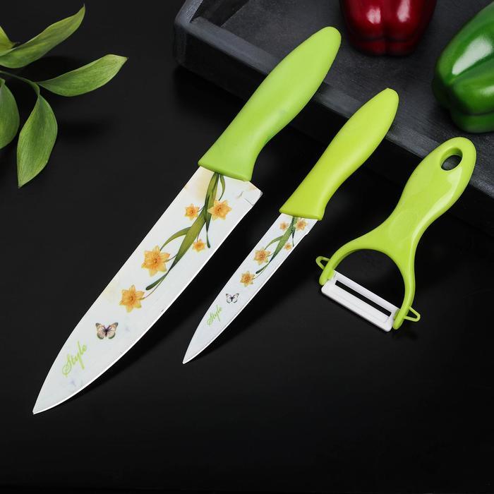 Набор кухонный «Нарцисс», 3 предмета, цвет зелёный