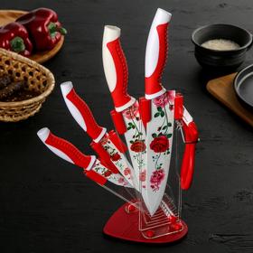 Набор кухонный «Роза любви», 5 предметов, на подставке, цвет красный