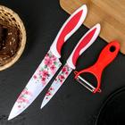 Набор кухонный «Цветник», 3 предмета, цвет красный