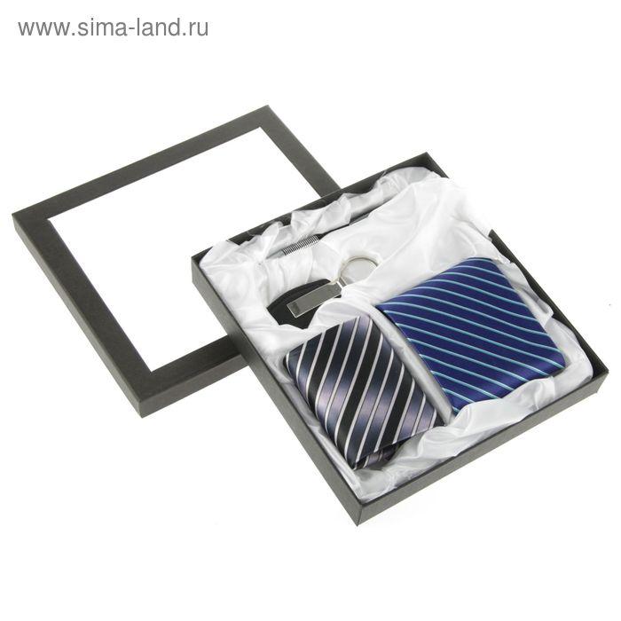 Набор подарочный 4в1 (галстук синий+галстук чёрный+ручка+брелок), 22,5*20,5*3,5см