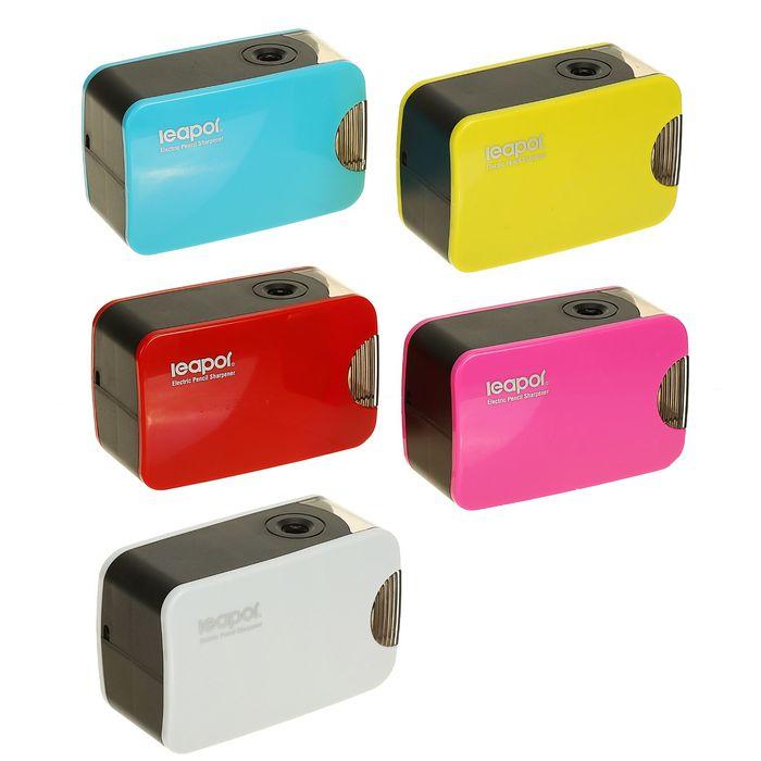 Точилка электрическая с контейнером, работает от 4-х батареек АА или USB, МИКС