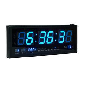Часы настенные электронные, синие цифры, 48.5х3.5х19 см