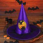 """Карнавальная шляпа ведьмы """"Филин"""" с сеткой, цвет фиолетовый"""