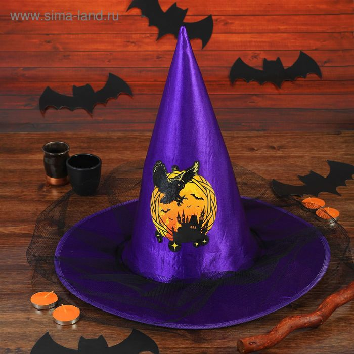 "Carnival witch hat ""owl"" with the mesh the color purple"